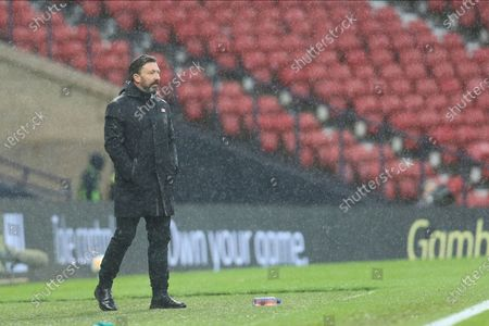 Aberdeen Manager Derek McInnes pointing, directing, signalling, gesture during the William Hill Scottish Cup semi-final match between Celtic and Aberdeen at Hampden Park, Glasgow