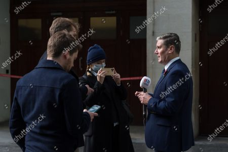 Labour Party Leader Sir Keir Starmer speaks to the media outside the BBC Broadcasting House in central London after appearing on The Andrew Marr Show.