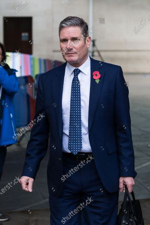 Labour Party Leader Sir Keir Starmer leaves the BBC Broadcasting House in central London after appearing on The Andrew Marr Show.