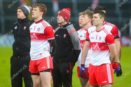 Derry vs Armagh. Derry manager Rory Gallagher and players during the National Anthem
