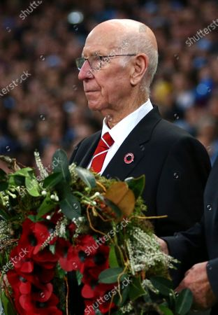 Dated, Bobby Charlton at the Etihad stadium in Manchester, England. Manchester United and England soccer great Bobby Charlton has been diagnosed with dementia, it is revealed Sunday Nov. 1, 2020