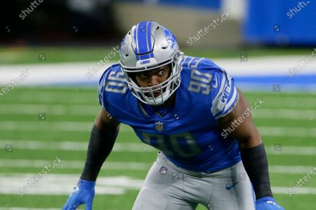 Stock Photo of Detroit Lions defensive end Trey Flowers plays during the first half of an NFL football game, in Detroit