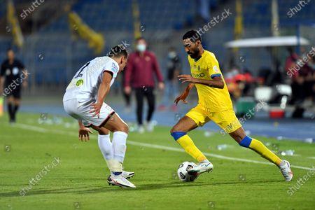 Al-Shabab's player Igor Lichnovsky (L) in action against Al-Nassr's Ali Al-Hassan (R) during the Saudi Professional League soccer match between Al-Shabab and Al-Nassr at Prince Faisal Bin Fahd Stadium in Riyadh, Saudi Arabia, 1 November 2020.