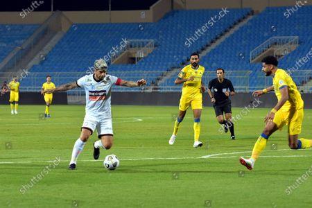 Al-Shabab's player Ever Banega (L) in action against Al-Nassr's Abdulelah Alamri (R) during the Saudi Professional League soccer match between Al-Shabab and Al-Nassr at Prince Faisal Bin Fahd Stadium in Riyadh, Saudi Arabia, 1 November 2020.