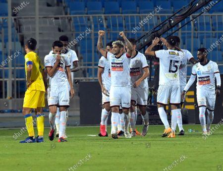 Al-Shabab's player Ever Banega (C) celebrates after scoring the winning goal during the Saudi Professional League soccer match between Al-Shabab and Al-Nassr at Prince Faisal Bin Fahd Stadium in Riyadh, Saudi Arabia, 1 November 2020.