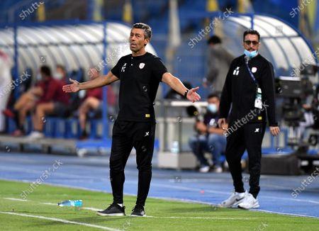 Al-Shabab's coach Pedro Caixinha (L) gestures during the Saudi Professional League soccer match between Al-Shabab and Al-Nassr at Prince Faisal Bin Fahd Stadium in Riyadh, Saudi Arabia, 1 November 2020.