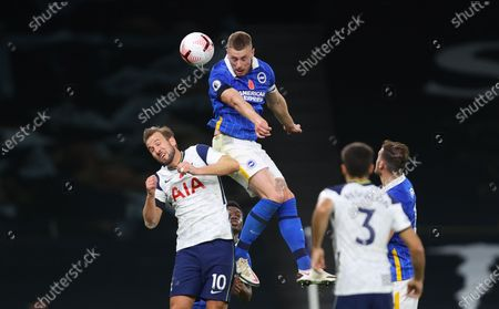 Stock Picture of Harry Kane (L) of Tottenham in action against Adam Webster (up) of Brighton during the English Premier League soccer match between Tottenham Hotspur and Brighton Hove Albion in London, Britain, 01 November 2020.