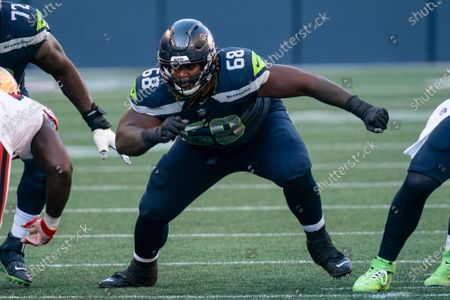 Seattle Seahawks offensive lineman Damien Lewis is pictured during the first half of an NFL football game against the San Francisco 49ers, in Seattle. The Seahawks won 37-27
