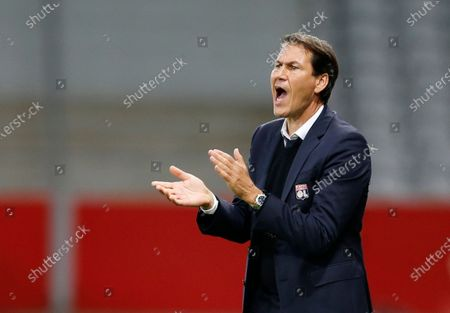 Olympique Lyonnais coach Rudi Garcia shouts during the French League One soccer match between Lille and Olympique Lyonnais at the Pierre-Mauroy Stadium in Villeneuve d'Ascq, northern France