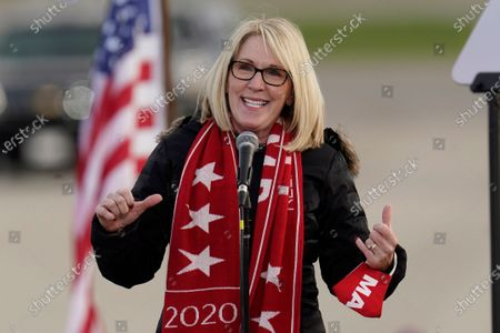Laura Cox, Chairman of the Michigan Republican Party, speaks at a campaign rally for Vice President Mike Pence in Flint, Mich