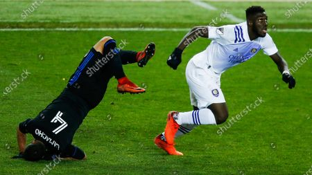 Stock Picture of Orlando City attacker Daryl Dike, right, and Montreal Impact defender Rudy Camacho battle for the ball during their MLS match, at Red BullArena in Harrison, NJ