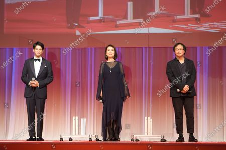 The 33rd Tokyo International Film Festival opening. v.l. Win Morisaki, Mariko Tsutsui, Koji Fukada