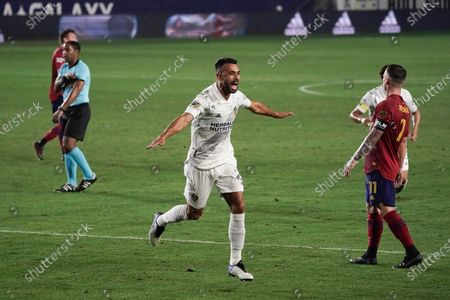 Los Angeles Galaxy's Giancarlo Gonzalez, center, celebrates his goal against Real Salt Lake during the first half of an MLS soccer match, in Carson, Calif