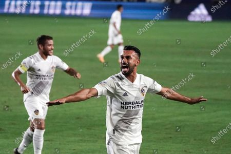 Los Angeles Galaxy's Giancarlo Gonzalez celebrates his goal against Real Salt Lake during the first half of an MLS soccer match, in Carson, Calif