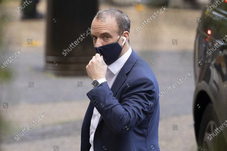 Foreign Secretary Dominic Raab arrives at The Foreign, Commonwealth and Development Office. Later today Prime Minister Boris Johnson will make a statement in the House of Commons.