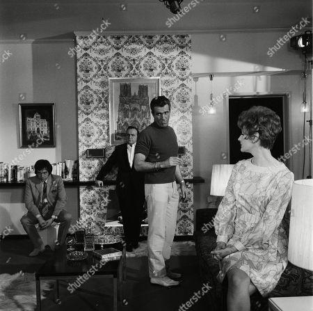 Stock Photo of Alan Lake as The Dandy, Steve Plytas as Lizardos, Kieron Moore as Lomax/Reeves and Barbara Murray as Tania