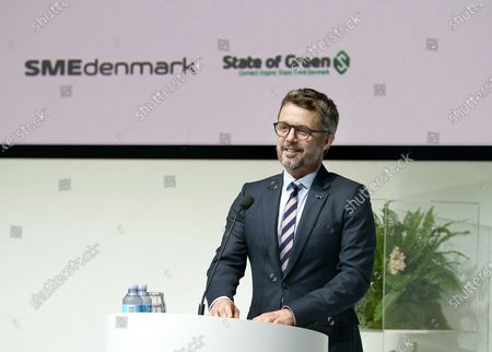 Stock Photo of Danish Crown Prince Frederik gives an opening speech in connection with a virtual business promotion to the Netherlands, from Industriens Hus in Copenhagen, Denmark, 02 November 2020. This is the first virtual business promotion with royal participation ever. The promotion takes the form of a green conference entitled 'Partnering for Green Transition.' A physical visit to the Netherlands will be held when it becomes possible again.