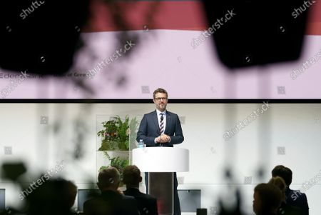 Stock Picture of Danish Crown Prince Frederik gives an opening speech in connection with a virtual business promotion to the Netherlands, from Industriens Hus in Copenhagen, Denmark, 02 November 2020. This is the first virtual business promotion with royal participation ever. The promotion takes the form of a green conference entitled 'Partnering for Green Transition.' A physical visit to the Netherlands will be held when it becomes possible again.