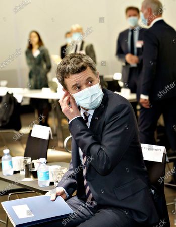 Danish Crown Prince Frederik with face mask before he gives an opening speech in connection with a virtual business promotion to the Netherlands, from Industriens Hus in Copenhagen, Denmark, 02 November 2020. This is the first virtual business promotion with royal participation ever. The promotion takes the form of a green conference entitled 'Partnering for Green Transition.' A physical visit to the Netherlands will be held when it becomes possible again.