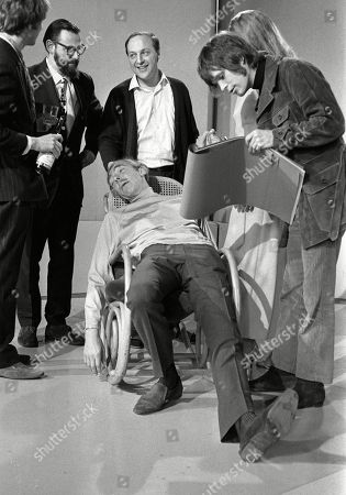 Eric Idle, Dick Vosburgh, Benny Green, Marga Roche, Frank Muir, and Terry Gilliam