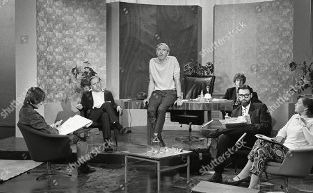 Terry Gilliam, Benny Green, Frank Muir, Eric Idle, Dick Vosburgh and Katharine Whitehorn