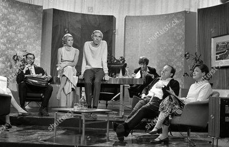 Dick Vosburgh, Marga Roche, Frank Muir, Eric Idle, Benny Green and Katharine Whitehorn
