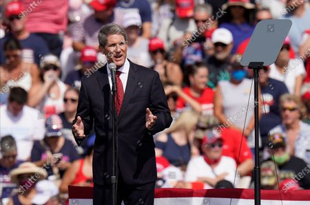 Stock Picture of Scott Franklin, Republican candidate for the U.S. House of Representiatives speaks before President Donald Trump, and First Lady Melania Trump at a campaign rally, in Tampa, Fla