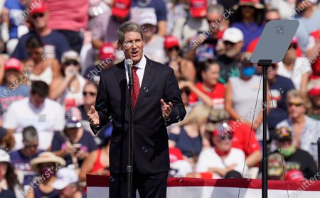 Scott Franklin, Republican candiate for the U.S. House of Representiatives speaks before President Donald Trump, and First Lady Melania Trump at a campaign rally, in Tampa, Fla