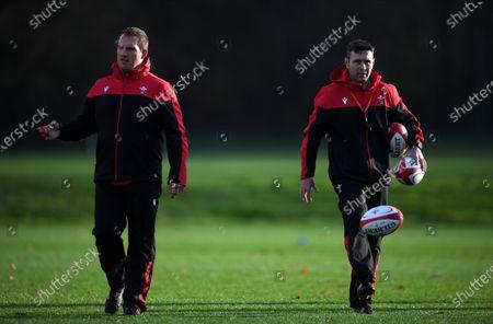 Gethin Jenkins and Stephen Jones during training.