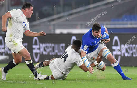 Stock Picture of Sebastian Negri - Italy flanker tackled by Anthony Watson - England winger. Italy v England, Stadio Olympic, Rome Italy, Guinness Six Nations, round 5, Saturday 31st October 2020.