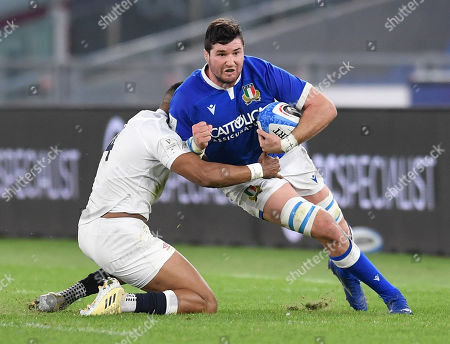 Sebastian Negri - Italy flanker tackled by England winger Anthony Watson.