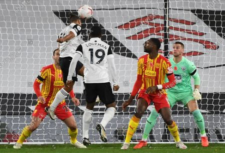 Bobby Decordova-Reid (L up) of Fulham scores a goal during the English Premier League soccer match between Fulham FC and West Bromwich Albion in London, Britain, 02 November 2020.