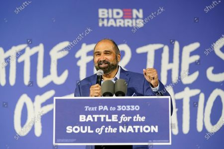 Stock Image of Former NFL Pittsburgh Steelers player Franco Harris speaks during a drive-in rally for Democratic presidential candidate former Vice President Joe Biden at Lexington Technology Park, in Pittsburgh