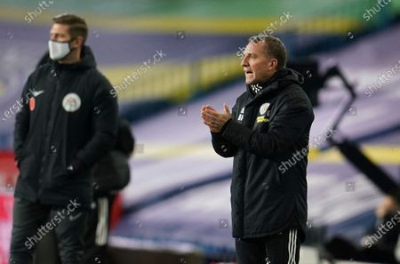 Leicester's manager Brendan Rodgers watches his side play from the side lines during the English Premier League soccer match between Leeds United and Leicester City at Elland Road, in Leeds, England