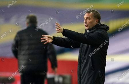Leicester's manager Brendan Rodgers gestures to hi players from the side lines during the English Premier League soccer match between Leeds United and Leicester City at Elland Road, in Leeds, England