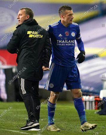 Jamie Vardy (R) of Leicester is substituted by Leicester City manager Brendan Rodgers (L) during the English Premier League soccer match between Leeds United and Leicester City in Leeds, Britain, 02 November 2020.