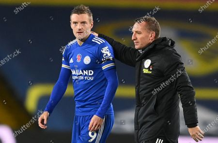 Jamie Vardy (L) of Leicester and Leicester City manager Brendan Rodgers  (R) after the English Premier League soccer match between Leeds United and Leicester City in Leeds, Britain, 02 November 2020.