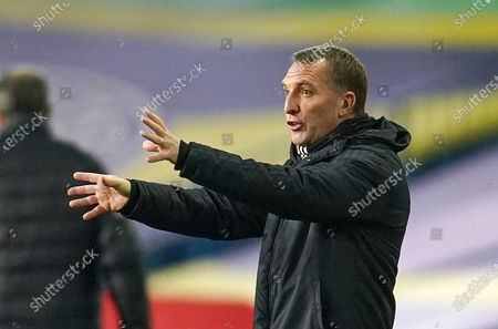 Leicester City manager Brendan Rodgers reacts during the English Premier League soccer match between Leeds United and Leicester City in Leeds, Britain, 02 November 2020.