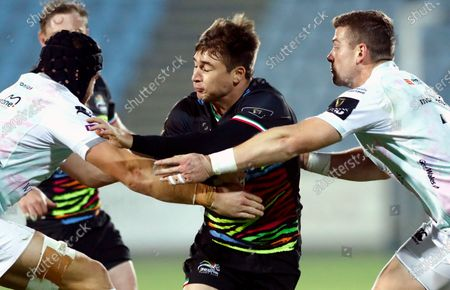 Stock Photo of Zebre vs Ospreys. Antonio Rizzi of Zebre with James King and Dan Lydiate of Ospreys