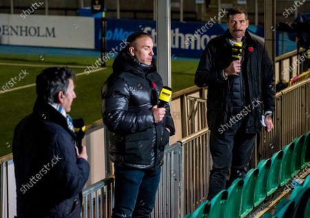 Stock Picture of Glasgow Warriors vs Leinster . Premier Sports' Dougie Vipond, Stephen Ferris and Jim Hamilton