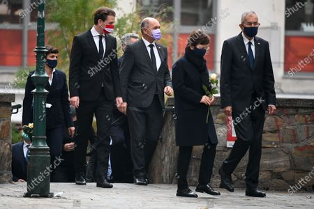 Austrian Chancellor Sebastian Kurz (L), President of the Austrian National Council Wolfgang Sobotka (2-L), President of Austria Alexander Van der Bellen (R) and his wife Doris Schmidauer (2-R) attend a wreath laying ceremony after multiple shootings in the first district of Vienna, Austria, 03 November 2020. According to recent reports, at least three persons are reported to have died and many are seriously injured in what officials treat as a terror attack which took place in the evening of 02 November.