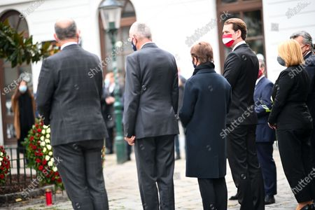 Stock Picture of Austrian Chancellor Sebastian Kurz (L), President of the Austrian National Council Wolfgang Sobotka (2-L), President of Austria Alexander Van der Bellen (R) and his wife Doris Schmidauer (2-R) attend a wreath laying ceremony after multiple shootings in the first district of Vienna, Austria, 03 November 2020. According to recent reports, at least three persons are reported to have died and many are seriously injured in what officials treat as a terror attack which took place in the evening of 02 November.