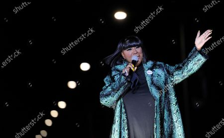 Patti LaBelle speaks during a drive-in get out the vote rally featuring Democratic vice presidential candidate Sen. Kamala Harris, D-Calif., in Philadelphia