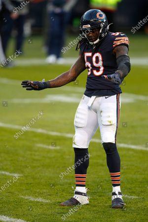 Chicago Bears inside linebacker Danny Trevathan (59) reacts after a stop of the New Orleans Saints during an NFL football game in Chicago, . The Saints won the game in overtime 26-23