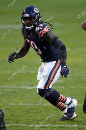 Chicago Bears inside linebacker Danny Trevathan (59) lines up against the New Orleans Saints during an NFL football game in Chicago, . The Saints won the game in overtime 26-23