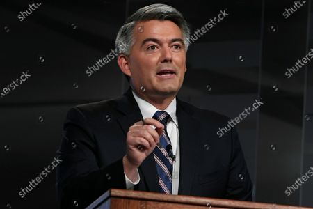 Republican U.S. Sen. Cory Gardner speaks during a debate with his Democratic rival former Colorado Gov. John Hickenlooper in Denver