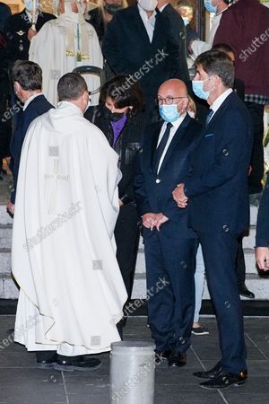 Eric Ciotti, deputy for Alpes-Maritimes and Charles-Ange Ginesy, President of the Alpes-Maritimes department are seen during the Mass of reparation on November 1 in the Notre-Dame de l'Assomption basilica. This special Mass follows the attack on October 29, which claimed the lives of three people. The portraits of the three victims were displayed on easels. Only 150 people were able to attend this ceremony