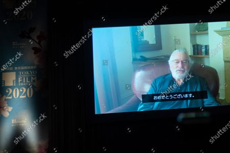 A video message by actor and director Robert De Niro is screened during the opening ceremony at 33rd Tokyo International Film Festival