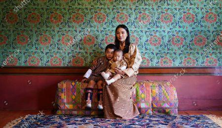 Her Majesty Queen Jetsun Pema Wangchuck, His Royal Highness Gyalsey Jigme Namgyel (Born 5 Feb 2016) and His Royal Highness the Gyalsey (born 19 March 2020) taken at Dechencholing Palace, Thimphu
