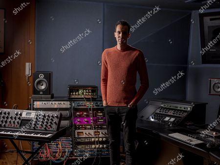 Stock Image of Gael Faye in the recording studio
